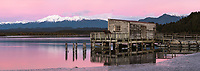 Okarito wharf and lagoon at sunset, Westland Tai Poutini National Park, UNESCO World Heritage Area, West Coast, New Zealand, NZ
