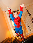Young boy playing superhero spider man. David Shwatal portrait photographer Tinley Park, Chicago, IL, 60477