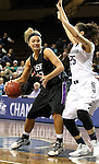SIOUX FALLS, SD - MARCH 3:  Amber Paden #42 from the University of Sioux Falls backs down against Kionda Nicks #25 from Concordia St. Paul in the first half of their semifinal game of the NSIC Tournament Monday night at the Sanford Pentagon. (Photo by Dave Eggen/Inertia)