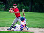WINSTED , CT-080720JS21—Winsted's Kyle Matthews (29)  gets Waterford's Preston Tabor (15) out on a force play at second before turning the double play during their CTEBA U19 playoff game Friday at Walker Field in Winsted. <br /> Jim Shannon Republican-American