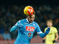 Napoli's Gonzalo Higuain heads the ball  during the Quartef-final of Tim Cup soccer match,between SSC Napoli and vFC Inter    at  the San  Paolo   stadium in Naples  Italy , January 20, 2016