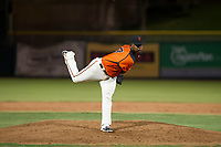 AZL Giants relief pitcher Weilly Yan (58) follows through on a pitch during a game against the AZL Angels on July 10, 2017 at Scottsdale Stadium in Scottsdale, Arizona. AZL Giants defeated the AZL Angels 3-2. (Zachary Lucy/Four Seam Images)