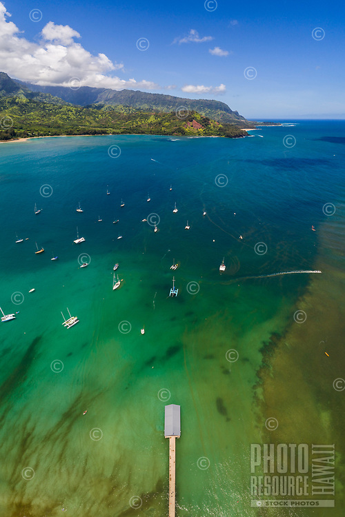 An aerial view of Hanalei Bay on a perfect summer morning, Kaua'i.