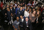 Nik Walker and James Basker with student performers before the Gilder Lehman Institute of American History Education Matinee of 'Hamilton' at the Richard Rodgers  Theatre on December 15, 2016 in New York City.