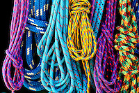 Detail photo of colorful ropes. Photo is part of a series of images taken at Pamlico Sea Base, a Boy Scouts of America High Adventure Camp located on the Pamlico River south of Washington, NC. The BSA Sea Base program is centered around sea kayaking treks on the North Carolina Outer Banks and sailing programs on the historic Pamlico River...Photography by: Patrick Schneider Photo.com