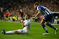 Real Madrid´s Karim Benzema and Deportivo de la Coruna's Albert Lopo during 2014-15 La Liga match between Real Madrid and Deportivo de la Coruna at Santiago Bernabeu stadium in Madrid, Spain. February 14, 2015. (ALTERPHOTOS/Luis Fernandez) /NORTEphoto.com