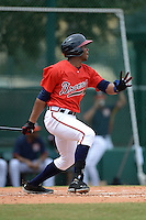 Atlanta Braves outfielder Fernelys Sanchez (27) during an Instructional League game against the Houston Astros on September 22, 2014 at the ESPN Wide World of Sports Complex in Kissimmee, Florida.  (Mike Janes/Four Seam Images)