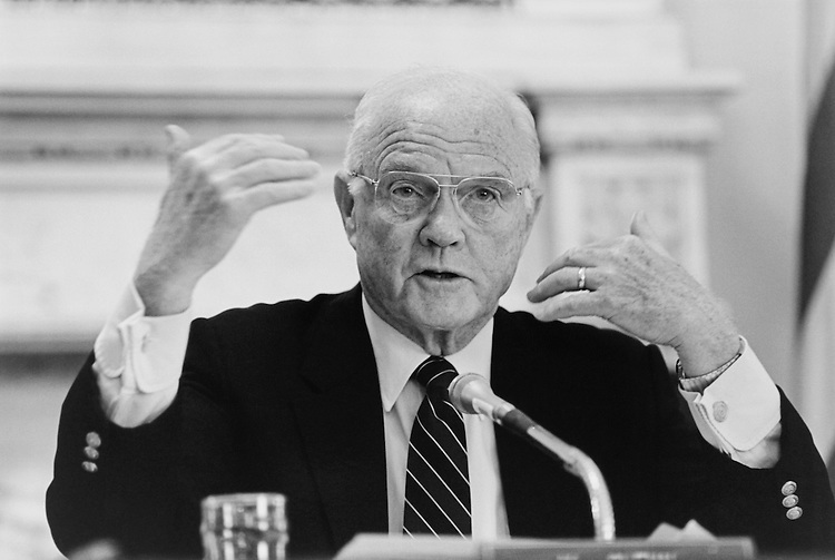 Sen. John Herschel Glenn, D-Ohio, Senate Committee on Governmental Affairs Chairman, talking into a microphone. May 1995 (Photo by Laura Patterson/CQ Roll Call)