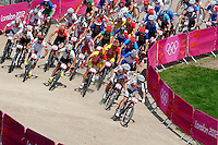 12.08.2012. Hadleigh Woods, Essex, England. Olympic Games 2012 Mountainbike Olympic Summer Games in London 2012 Cross Country for men Picture shows the mass Start Kulhavy won the Olympic gold medal Switzerland's Nino Schurter won the silver and Italy's Marco Aurelio Fontana won the bronze.