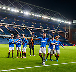 16.11.2019 Rangers Colts v Wrexham: Rangers celebrate at full time as injured Nathan Patterson dances on his crutches