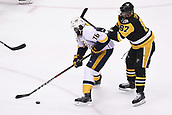 8th June 2017, Pittsburgh, PA, USA; Nashville Predators defenseman P.K. Subban (76) skates with the puck as Pittsburgh Penguins center Sidney Crosby (87) defends during the first period. Game Five was won 6-0 by the Pittsburgh Penguins against the Nashville Predators during the 2017 NHL Stanley Cup Final on June 8, 2017, at PPG Paints Arena in Pittsburgh, PA. The Penguins take a 3-2 series lead in the best of seven series with the victory.
