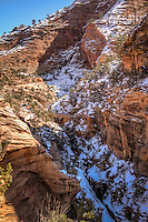 Views from the Canyon Overlook Trail in Zion National Park Utah, during winter.
