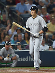 Masahiro Tanaka (Yankees), AUGUST 28, 2015 - MLB : Masahiro Tanaka of the New York Yankees reacts in his second at-bat in the second inning during the Major League Baseball Interleague game against the Atlanta Braves at Turner Field in Atlanta, Georgia, United States. (Photo by AFLO)