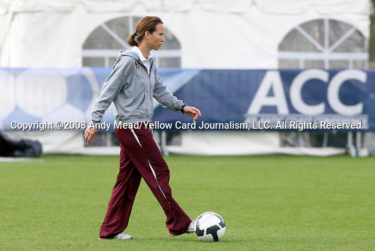 05 November 2008: Boston College head coach Alison Kulik. Boston College defeated Duke University 1-0 at Koka Booth Stadium at WakeMed Soccer Park in Cary, NC in a women's ACC tournament quarterfinal game.