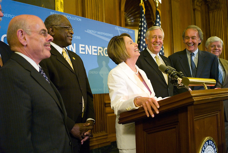 "WASHINGTON, DC - June 26: House Energy Chairman Henry A. Waxman, D-Calif., House Majority Whip James E. Clyburn, D-S.C., House Speaker Nancy Pelosi, D-Calif., House Majority Leader Steny Hoyer, D-Md., House Select Committee on Energy Independence and Global Warming Chairman Edward J. Markey, D-Mass., and Rep. John B. Larson, D-Conn., during a news conference after the House passed legislation Friday to overhaul the nation's energy policy and curb global warming, handing President Obama a landmark legislative victory on one of his top priorities. The bill (HR 2454) passed 219-212, with eight Republican ""yes"" votes tipping the balance. Forty-four Democrats voted against the bill. (Photo by Scott J. Ferrell/Congressional Quarterly)"