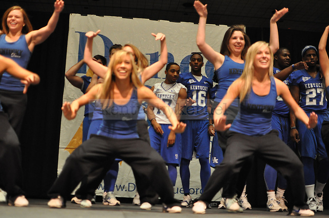 The UK Women's Dance Team came up on stage to put on a show for the students during Dance Blue.