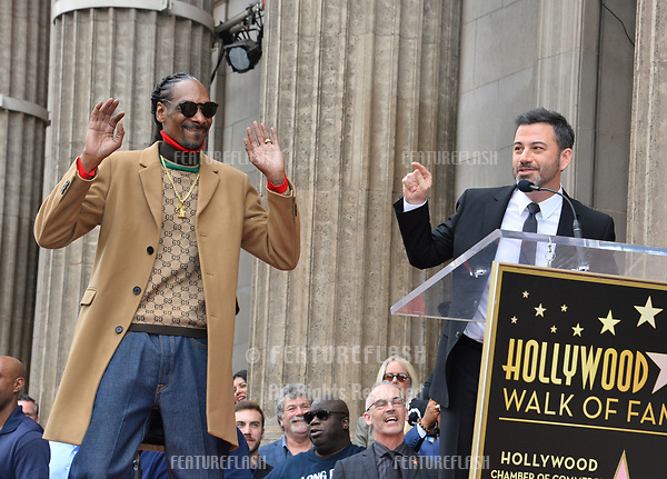 LOS ANGELES, CA. November 19, 2018: Snoop Dogg & Jimmy Kimmel at the Hollywood Walk of Fame Star Ceremony honoring Snoop Dogg.<br /> Pictures: Paul Smith/Featureflash