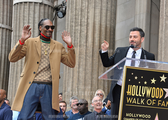 LOS ANGELES, CA. November 19, 2018: Snoop Dogg &amp; Jimmy Kimmel at the Hollywood Walk of Fame Star Ceremony honoring Snoop Dogg.<br /> Pictures: Paul Smith/Featureflash