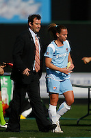 Sky Blue FChead coach Ian Sawyers and Christie Rampone (3). The Los Angeles Sol defeated Sky Blue FC 2-0 during a Women's Professional Soccer match at TD Bank Ballpark in Bridgewater, NJ, on April 5, 2009. Photo by Howard C. Smith/isiphotos.com