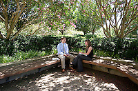CVM Class of 2018 students, Max Farmer and Emme Andrews, discuss class in front of the Wise building.