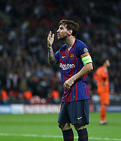 Barcelona's Lionel Messi celebrates after scoring his side's third goal <br /> <br /> Photographer Rob Newell/CameraSport<br /> <br /> UEFA Champions League Group B - Tottenham Hotspur v Barcelona - Wednesday 3rd October 2018 - Wembley Stadium - London<br />  <br /> World Copyright © 2018 CameraSport. All rights reserved. 43 Linden Ave. Countesthorpe. Leicester. England. LE8 5PG - Tel: +44 (0) 116 277 4147 - admin@camerasport.com - www.camerasport.com