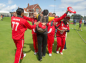 ICC World T20 Qualifier - GROUP B MATCH - Afghanistan v Oman at Heriots CC, Edinburgh - Oman celebrate with their fans — credit @ICC/Donald MacLeod - 15.07.15 - 07702 319 738 -clanmacleod@btinternet.com - www.donald-macleod.com