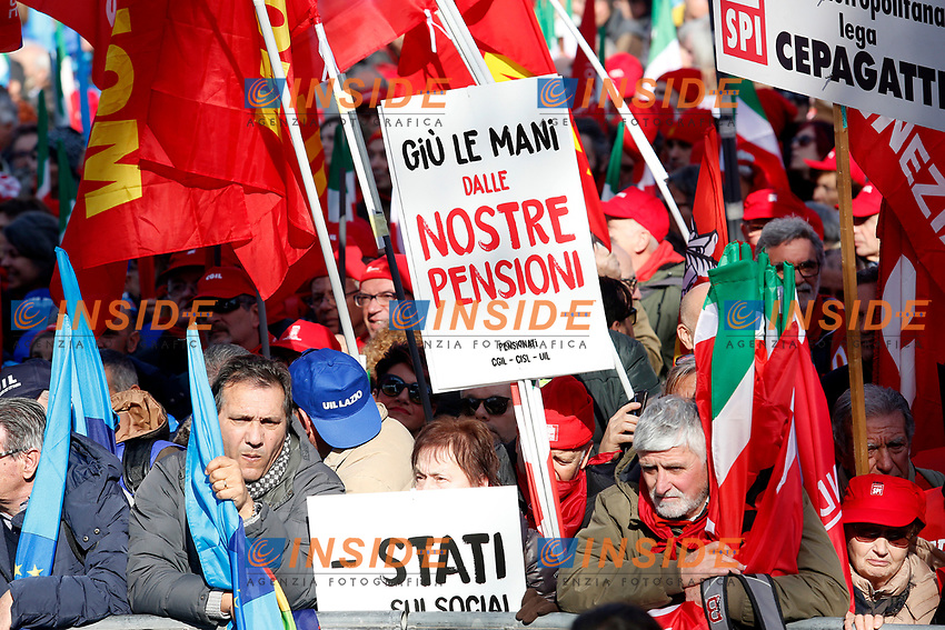 Rome February 9th 2019. Demonstration of the three Italian trade unions, CGIL, CISL, UIL.<br /> Foto Samantha Zucchi Insidefoto