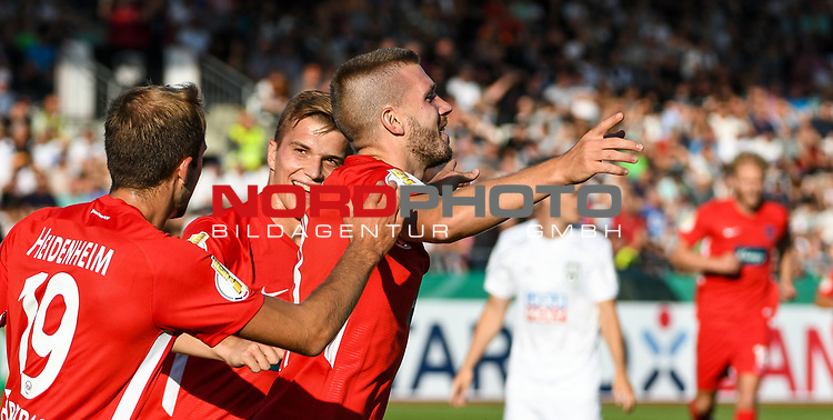 10.08.2019, Donaustadion, Ulm, GER, DFB Pokal, SSV Ulm 1846 Fussball vs 1. FC Heidenheim, <br /> DFL REGULATIONS PROHIBIT ANY USE OF PHOTOGRAPHS AS IMAGE SEQUENCES AND/OR QUASI-VIDEO, <br /> im Bild Torjubel, Jonas Föhrenbach / Foehrenbach (Heidenheim, #19), David Otto (Heidenheim, #26), Robert Leipertz (Heidenheim, #13)<br /> <br /> Foto © nordphoto / Hafner