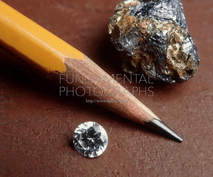 GRAPHITE &amp; DIAMOND: CARBON ALLOTROPES<br /> Graphite specimen, graphite lead in pencil and unmounted diamond