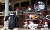 Twelfth Night <br /> by William Shakespeare <br /> directed by Emma Rice <br /> at Globe Theatre, Bankside, London, Great Britain <br /> press photocall <br /> 23rd May 2017 <br /> <br /> press night is on 24th May 2017 <br /> <br /> SISTER TOPAZ <br /> <br /> Le Gateau Chocolat as Feste <br /> <br /> Marc Antolin as Sir Andrew Aguecheek<br /> <br /> Carly Bawden as Maria <br /> <br /> Nandi Bhebhe as Fabian <br /> <br /> Tony Jayawardena as Sir Toby Belch <br /> <br /> Pieter Lawman as Antonio <br /> <br /> Kandaka Moore <br /> <br /> Theo St Clare <br /> <br /> Anita Joy Uwajeh as Viola <br /> <br /> Joshua Lacey as Orsino <br /> <br /> Katy Owen as Malvolio <br /> <br /> John Pfumojena as Sebastian <br /> <br /> <br /> <br /> <br /> Photograph by Elliott Franks <br /> Image licensed to Elliott Franks Photography Services