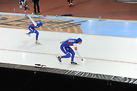 SPEED SKATING: SALT LAKE CITY: 21-11-2015, Utah Olympic Oval, ISU World Cup, 1500m Ladies, Brittany Bowe (USA), Heather Richardson-Bergsma (USA), World Record: 1.50,85, ©foto Martin de Jong