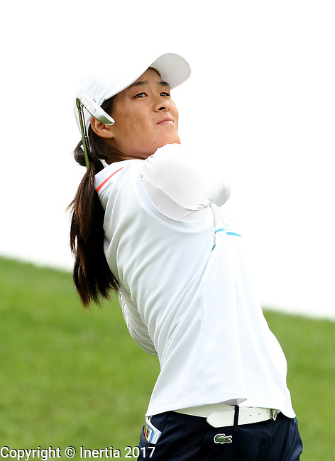 SIOUX FALLS, SD - SEPTEMBER 2: Celine Boutier watches her tee shot on the 4th hole Saturday morning at the Great Life Challenge, Symetra Tour event at Willow Run in Sioux Falls. (Photo by Dave Eggen/Inertia)