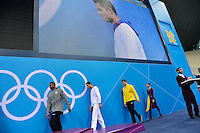 Cullen Jones USA Bronze Medal, Florent Manaudou France Gold Medal, Cesar Cielo Brazil Bronze Medal Men's 50m Freestyle..London 3/8/2012 Aquatics Center..London 2012 Olympic games - Olimpiadi Londra 2012..Nuoto - Swimming....Foto Andrea Staccioli Insidefoto