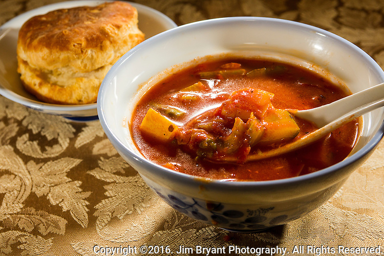 Tomato, Vegetable and Polska Kielbasa Soup with Yellow Squash, Celery, onions, stewed tomatoes and Zucchini. ©2016. Jim Bryant Photo. All Rights Reserved.