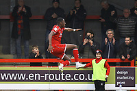 Beryly Lubala of Crawley Town celebrates his goal in the second half scored from a penalty during Crawley Town vs Oldham Athletic, Sky Bet EFL League 2 Football at Broadfield Stadium on 7th March 2020