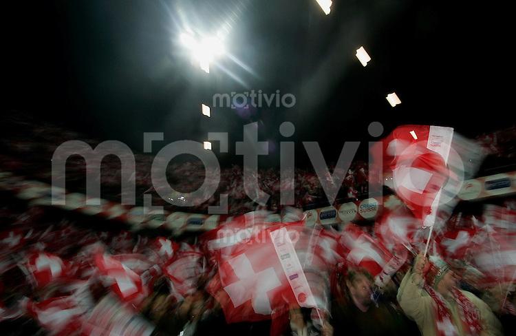 Fussball International WM Qualifikation Schweiz 2-0 Tuerkei Fans, Feature, Wischer, Fahnen
