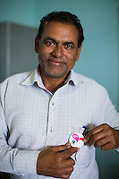 Jagadish Dhannanlal Patidar, 54, a Fairtrade Cotton Farmer Leader, during the presentation that was given by Fairtrade personnel from India and Switzerland in Vasudha Vidya Vihar school in Khargone, Madhya Pradesh, India on 12 November 2014. Photo by Suzanne Lee for Fairtrade