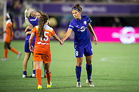 Orlando, Florida - Saturday, April 23, 2016: Orlando Pride forward Sarah Hagen (8) shakes the hand of Houston Dash defender Allysha Chapman (15) after an NWSL match between Orlando Pride and Houston Dash at the Orlando Citrus Bowl.  Orlando Pride defeated Houston Dash 3-1.