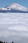 Mount Teide with a capping of snow above the clouds. Tenerife, Canary Islands, Spain. 2007