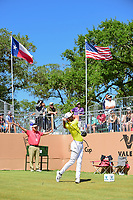Kevin Tway (USA) watches his tee shot on 17 during round 4 of the Valero Texas Open, AT&amp;T Oaks Course, TPC San Antonio, San Antonio, Texas, USA. 4/23/2017.<br /> Picture: Golffile | Ken Murray<br /> <br /> <br /> All photo usage must carry mandatory copyright credit (&copy; Golffile | Ken Murray)