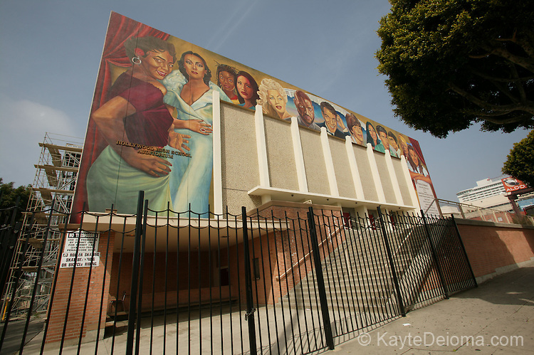 Portrait of Hollywood Mural by Eloy Torrez (2002) on the Hollywood High School Auditorium, Hollywood, CA