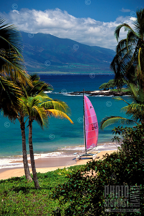Sailboat on the beach in Wailea, Maui.