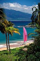 Sailboat on the beach in Wailea, Maui.