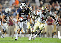 Sept. 19, 2009; Provo, UT, USA; BYU Cougars running back (10) J.J. Di Luigi runs for a touchdown past Florida State Seminoles linebacker (44) Maurice Harris at LaVell Edwards Stadium. Florida State defeated BYU 54-28. Mandatory Credit: Mark J. Rebilas-