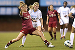04 October 2012: Boston College's Kristen Mewis (19) and UNC's Katie Bowen (NZL) (15). The University of North Carolina Tar Heels defeated the Boston College Eagles 1-0 at Fetzer Field in Chapel Hill, North Carolina in a 2012 NCAA Division I Women's Soccer game.
