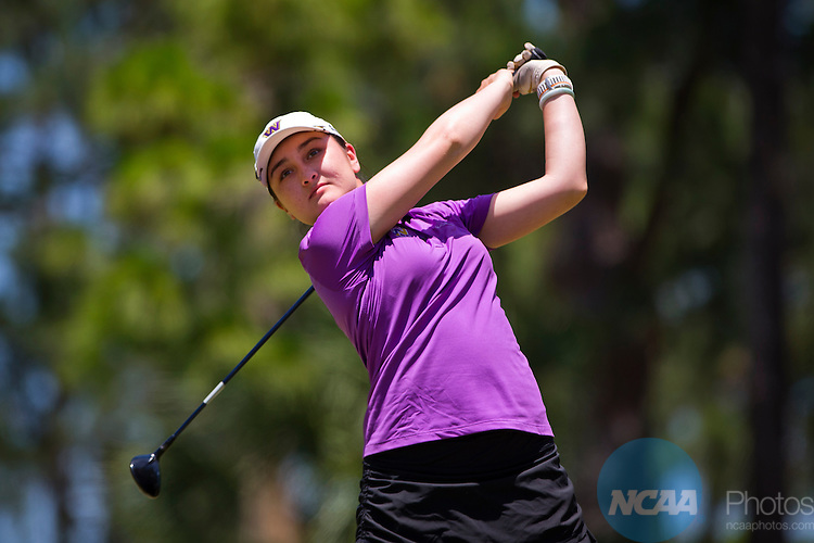 16 MAY 2014:  Georgiana Salant of Williams College tees off during the Division III Women's Golf Championship held at the Mission Inn in Howey-In-The-Hills, FL.  Salant shot a +9 to win the individual national title.  Matt Marriott/NCAA Photos