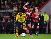 27th January 2020; Vitality Stadium, Bournemouth, Dorset, England; English FA Cup Football, Bournemouth Athletic versus Arsenal; Joe Willock of Arsenal beats Andrew Surman of Bournemouth to the ball
