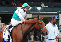 Angel Terrace and James Graham win the first division of the Pin Oak Valley View at Keeneland Racecourse.October 19, 2012.