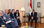 Egyptian President Abdel Fattah el-Sisi (C) meets with German Minister for Economics and Energy Brigitte Zypries (4th L) in Berlin on June 12, 2017. Photo by Egyptian President Office