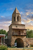 picture &amp; image of the gate and bell tower of the Samtavisi Georgian Orthodox Cathedral, 11th century, Shida Karti Region, Georgia (country)<br /> <br /> Built during the so called 10-11th century &ldquo;Georgian Golden Era&rdquo; Samtavisi cathedral is a built in classical Georgian style of the period. Layout on a cruciform ground plan with a high central cylindrical central cupola.